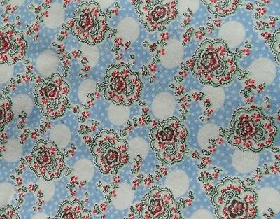 Blue Red White Floral Dots Ovals Feedsack Feed Flour Sack Fabric