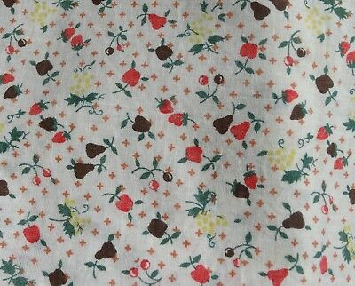 Vintage Feed Flour Sack Cafe' Curtain with Fruit Print - Apples Plums Strawberry