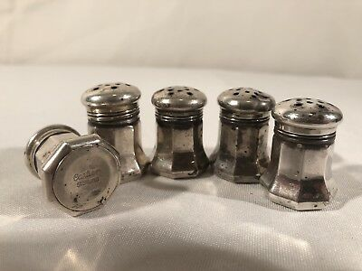 5 CARTIER Sterling silver MINI SALT & PEPPER SHAKERS 1 1/4""