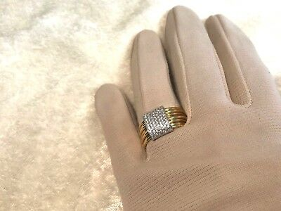 Italian Silver Sterling Pave' Crystal Layered Ring, Size 7 (M1116-78)