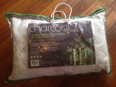 Odyssey living -charcoal infused crumpled memory foam bamboo pillow