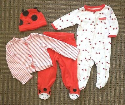 "CARTER'S Baby Girls up to 12 months Ladybug ""Daddy's Little Lady"" Clothing LOT"