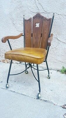 Vintage Mid Century Wrought Iron Wood Vinyl Rolling Kitchen Chair