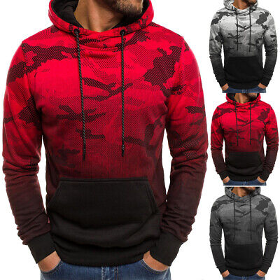 Mens Hoodies Army Sweatshirt Hooded Jacket Coat Shirt Camo Pullover Jumper Top