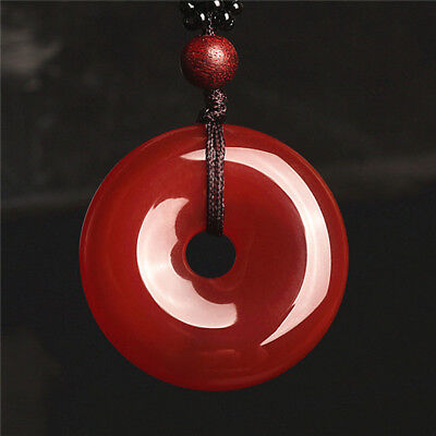 RED Agate Jade  Chinese Icy Agate jade pendant Circle Donut Bride jewelry