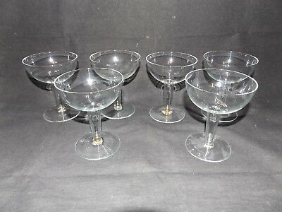 Lot of 6 x Vintage Crystal Hollow Stem Champagne Coupe Glasses Ca 1960s