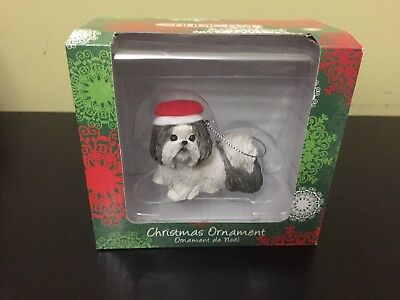 Sandicast Shih Tzu White/Gray with Red hat Christmas Ornament Brand New