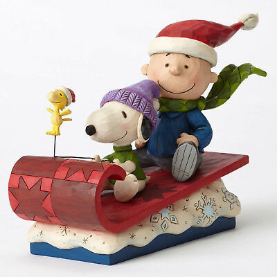 New Jim Shore Christmas Peanuts Snoopy Charlie Brown woodstock Sleigh Snow Day