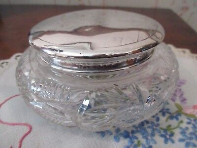 Antique Sterling Silver & Crystal Trinket/ Powder Bowl  Birmingham 1936