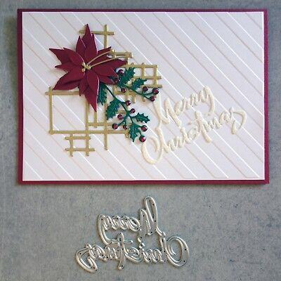 """clearance"" Shopaperartz ""merry Christmas"" Script Sentiment Die Fits Cuttlebug"
