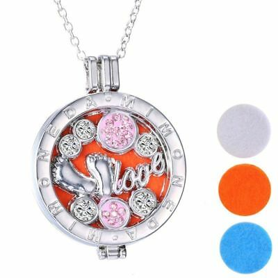 Silver Baby Feet Love Crystal Aromatherapy Oil Diffuser Locket Necklace+3 Pads.