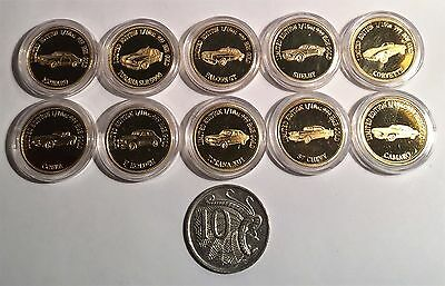 Comp Set of 10 x 1/10th Oz 999 24k Gold Plated Coins MCS 1 and MCS 2