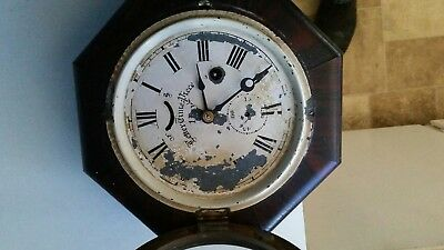 Antique wall clock letter time piece (seth thomas? )