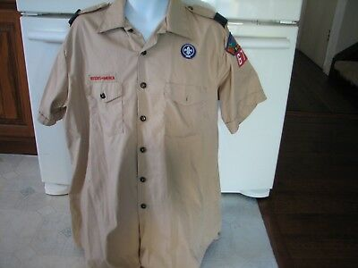 Boy Scouts of America BSA men's XL shirt with patches  & 2 kerchief holders