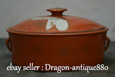 "10"" Rare Old Chinese Red Glazed Porcelain Handle Crane Basin Jug Jar Box Vassel"