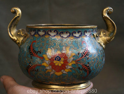 17CM QianLong MK Antique China Cloisonne Bronze Elephant Handle Incense Burner
