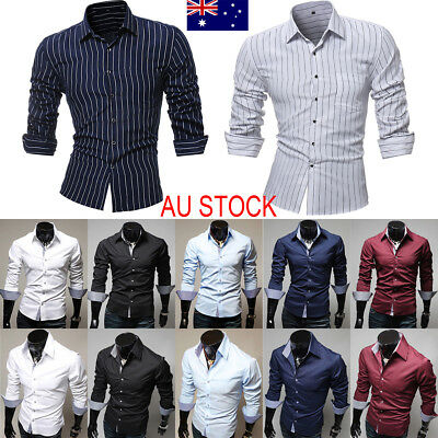 AU Luxury Mens Casual Shirts Business Dress T-shirt Long Sleeve Slim Fit Tops