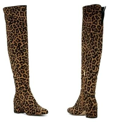 8df761aacd80d5 SAM EDELMAN ELINA Over The Knee Leopard Print Calf Hair Boot Size 6M ...