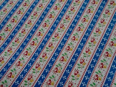 Vintage Cotton Fabric, With Tiny Tulip Strip Pattern