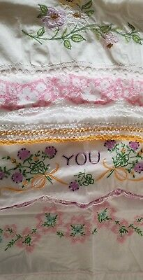 vintage hand embroidered pillowcases