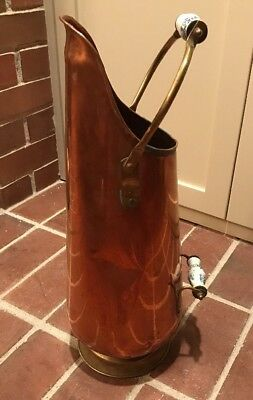 """Vintage 20""""  Tall Copper Coal Ash Bucket Scuttle Delft Handles  Made in Holland"""