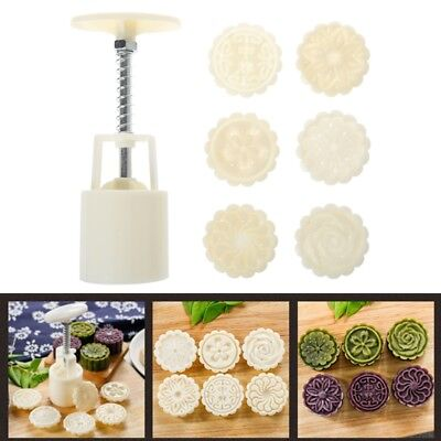 DIY 6 Rose Flower Stamps Moon Cake Decor Mould Round Mooncake Mold Tool 50g