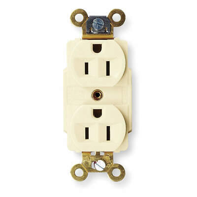 HUBBELL WIRING DEVICE-KEL Nylon Receptacle,Duplex,15A,5-15R,125V,Ivory, HBL5262I