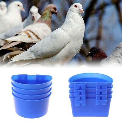 4pcs Birds Parrots Hanging Cage Pigeon Feeder Water Food Feeding Semicircle Bowl