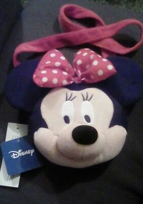Official Disney Store Minnie Mouse Purse Plush Head Girls Handbag