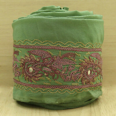 Vintage Indian Embroidered Green Ribbon Trim Used Sari Border Sewing 1YD Lace