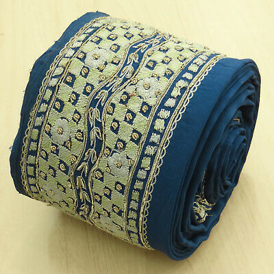 Vintage Indian Embroidered Blue Ribbon Used Sari Border Wrap Sewing 1YD Trim