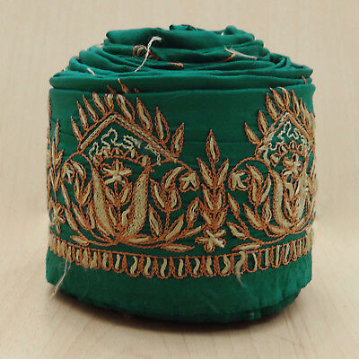 Vintage Indian Embroidered Wrap Used Sari Border Green Ribbon Sewing 1YD Lace