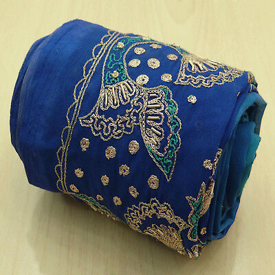 Indian Vintage Blue Embroidered Used Sari Border Ribbon Sewing Wrap 1YD Trim