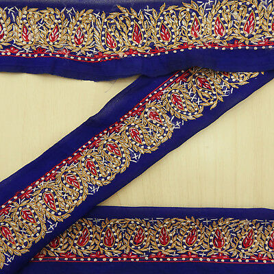 Indian Vintage Blue Sari Border Used Ribbon Embroidered Wrap Sewing 1YD Trim