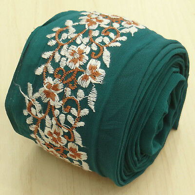 Vintage Indian Embroidered Lace Green Trim Used Sari Border Sewing 1YD Ribbon