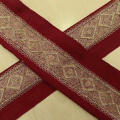 Vintage Indian Embroidered Red Lace Trim Wrap Used Sari Border Sewing 1YD Ribbon