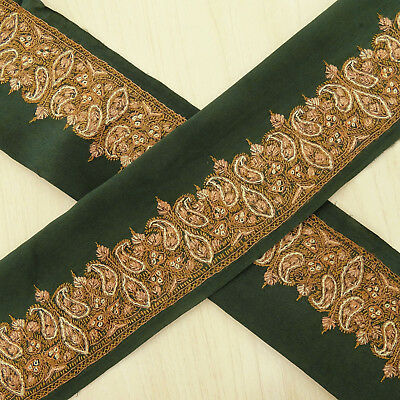Vintage Indian Embroidered Green Antique Trim Used Sari Border Sewing 1YD Ribbon