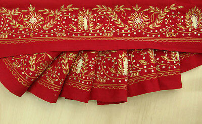 Indian Vintage Sari Border Embroidered 1YD Trim Sewing Used Ribbon Red Lace Wrap
