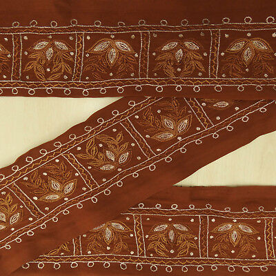 Indian Vintage Brown Embroidered Used Sari Border 1YD Trim Sewing Ribbon Lace
