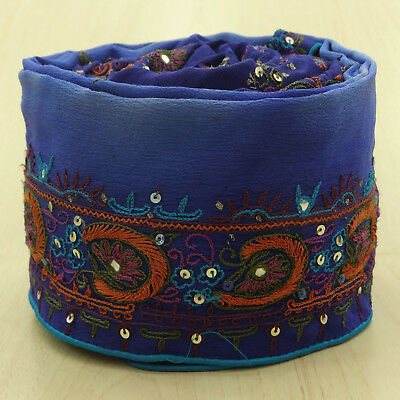 Vintage Indian Sari Border Wrap Used Ribbon Embroidered Sewing Blue Trim 1YD
