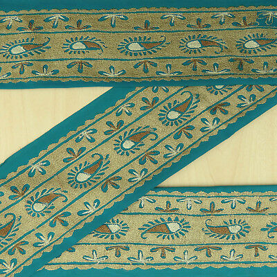 Vintage Indian Embroidered Blue Used Sari Border Wrap craft Sewing Ribbon 1YD