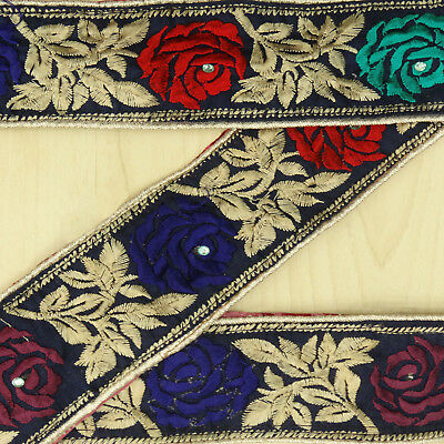 Vintage Indian Embroidered Blue Ribbon Antique Used Sari Border Sewing 1YD Trim