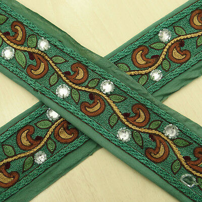 Vintage Indian Antique Wrap Used Sari Border Green Embroidered Sewing 1YD Ribbon