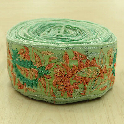 Indian Vintage Sari Border Embroidered Green Trim Sewing 1YD Ribbon Used Lace