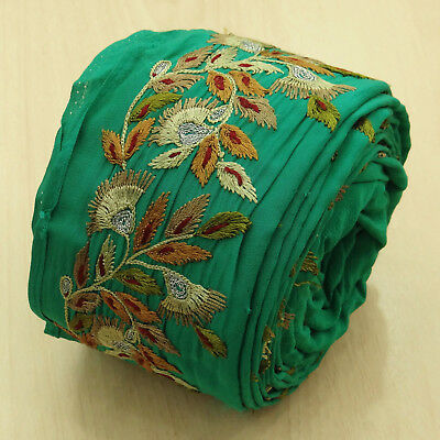 Vintage Indian Embroidered Green Antique Used Sari Border Sewing 1YD Ribbon