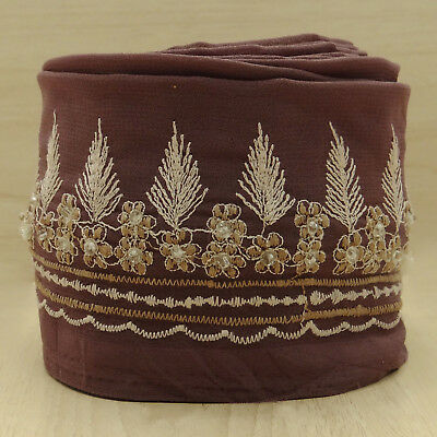 Vintage Indian Embroidered Ribbon Brown Used Sari Lace Trim Sewing 1YD Border