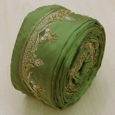 Vintage Indian Embroidered Ribbon Used Sari Green Border Trim Sewing 1YD Lace