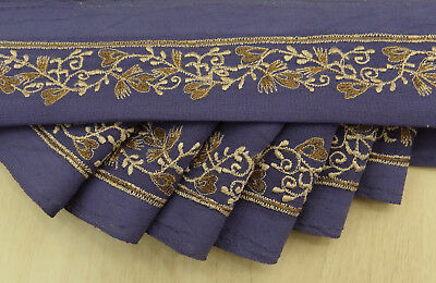 Indian Vintage Border Wrap Trim Blue Embroidered Sari Sewing 1YD Used Ribbon