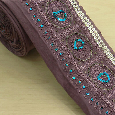 Vintage Indian Antique Wrap Sari Border Mauve Sewing Embroidered Used 1YD Ribbon