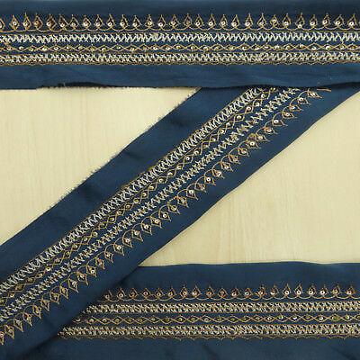Indian Vintage Used Sari Border Embroidered Blue Antique Ribbon Sewing 1YD Lace